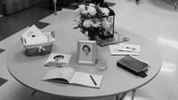 Photo #35-Guest Book Table at luncheon, Black & White