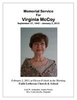 Virginia McCoy Memorial - Program