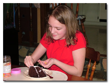 Lauren customizes her slice of cake in the annual 'Other Kid' shot.