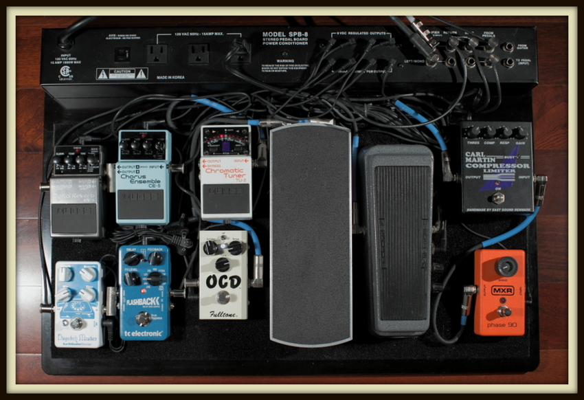 PedalBoard (Furman SPB-8): Custom MXR Phase 90/Carl Martin Compressor Limiter/Teese RMC2 Wah/Ernie Ball 6166 Volume/Fulltone OCD/Boss TU-2 Tuner FX Loop: Boss CE-5 Chorus/Boss RV-5 Reverb/TC Electronic Flashback/Earthquaker Devices Dispatch Master