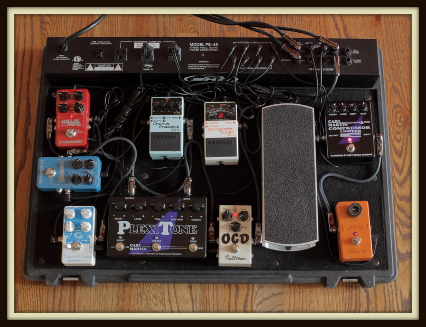 Other Pedal Board For At Church (SKB PS-45): MXR Phase 90 (Script Logo)/Carl Martin Compressor Limiter/Ernie Ball 6166 Volume/Fulltone OCD/TC Electronic NDR-1 Nova Drive/Boss TU-3 Tuner; FX Loop: TC Electronic Flashback Delay/Boss CE-5 Chorus/MXR Carbon Copy/TC Electronic Hall Of Fame Reverb/Earthquaker Devices Dispatch Master