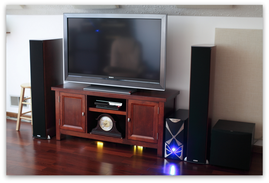 Studio Listening / Viewing Area 1 - Sony 52 inch HDTV, Windows 7x64 w/ Media Center & Remote Ceton InfiniTV4 Tuner, Polk RTi-A9's, Boston Acoustics Powered Subwoofer, Sony Playstation 3